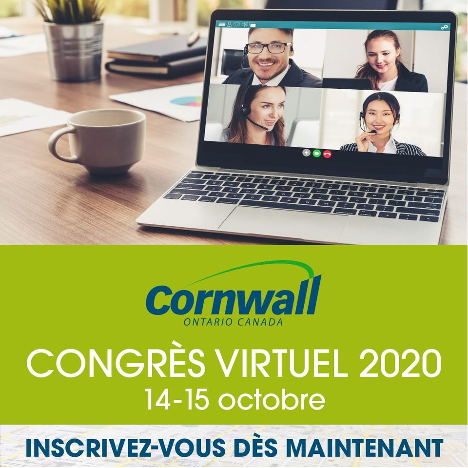 L'image contient peut-être: 4 personnes, texte qui dit '8四40 cornwall ONTARIO CANADA CONGRÈS VIRTUEL 2020 14-15 octobre INSCRIVEZ-VOUS DES MAINTENANT'